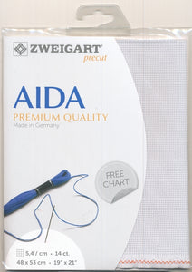 Zweigart Fabric Precut Aida 14ct Silver Grey - Debart Designs Embroidery