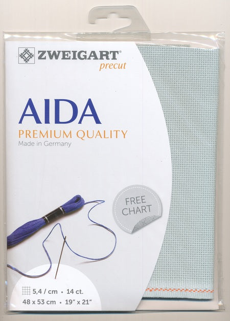 Zweigart Fabric Precut Aida 14ct  Confederate Grey - Debart Designs Embroidery