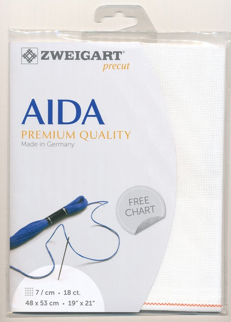 Zweigart Fabric Precut Aida 18ct  White - Debart Designs Embroidery