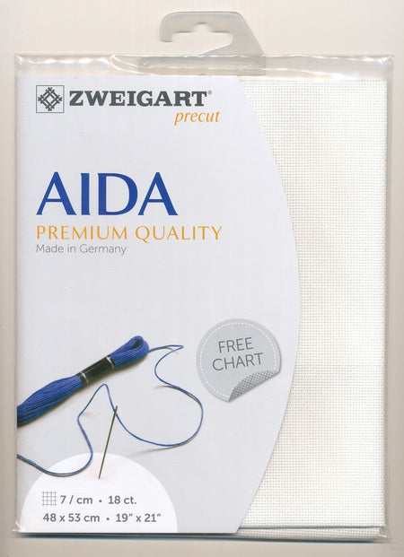 Zweigart Fabric Precut Aida 18ct Antique White - Debart Designs Embroidery