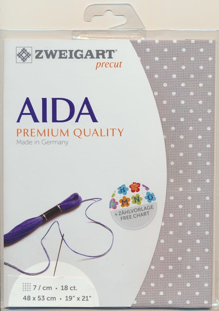 Zweigart Fabric Precut Aida 18ct  Petit Point Grey - Debart Designs Embroidery