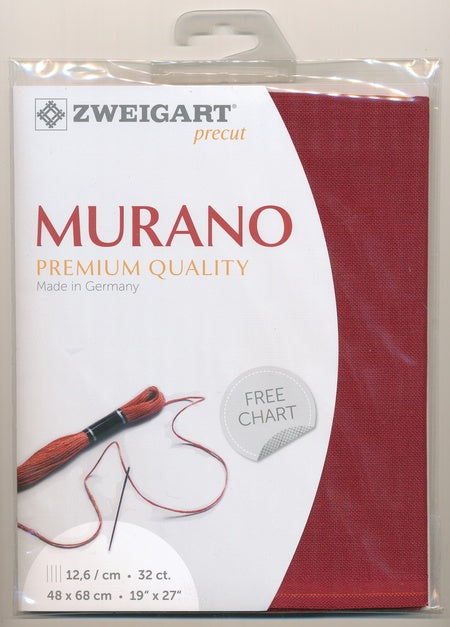 Zweigart Fabric Precut Murano Lugana 32ct Ruby Wine - Debart Designs Embroidery