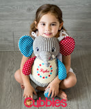 Personalised Harlequin Elephant Cubby - Debart Designs Embroidery