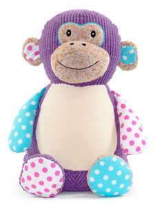 Personalised Harlequin Monkey Cubby - Purple - Debart Designs Embroidery