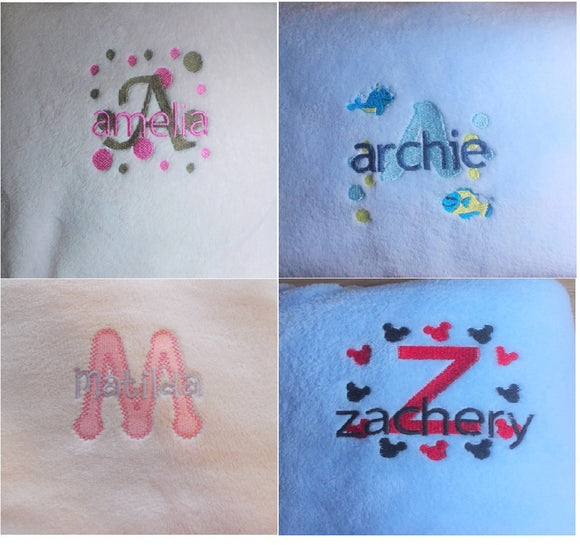Personalised Custom Embroidered Stacked Monogram/Name Coral Fleece baby blanket. Pink/Blue