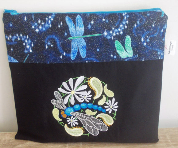 Small Cross Stitch/Craft Project Bag - Paisley Dragonfly