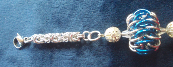 Chain Maille Zipper Pull/ Scissor Fob / Key Chain - Silver and Blue