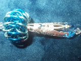 Chain Maille Zipper Pull/ Scissor Fob / Key Chain - Blue and Silver