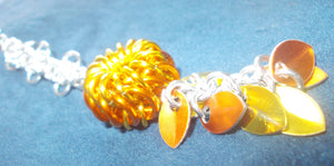 Chain Maille Zipper Pull/ Scissor Fob / Key Chain - Gold, Orange & Silver