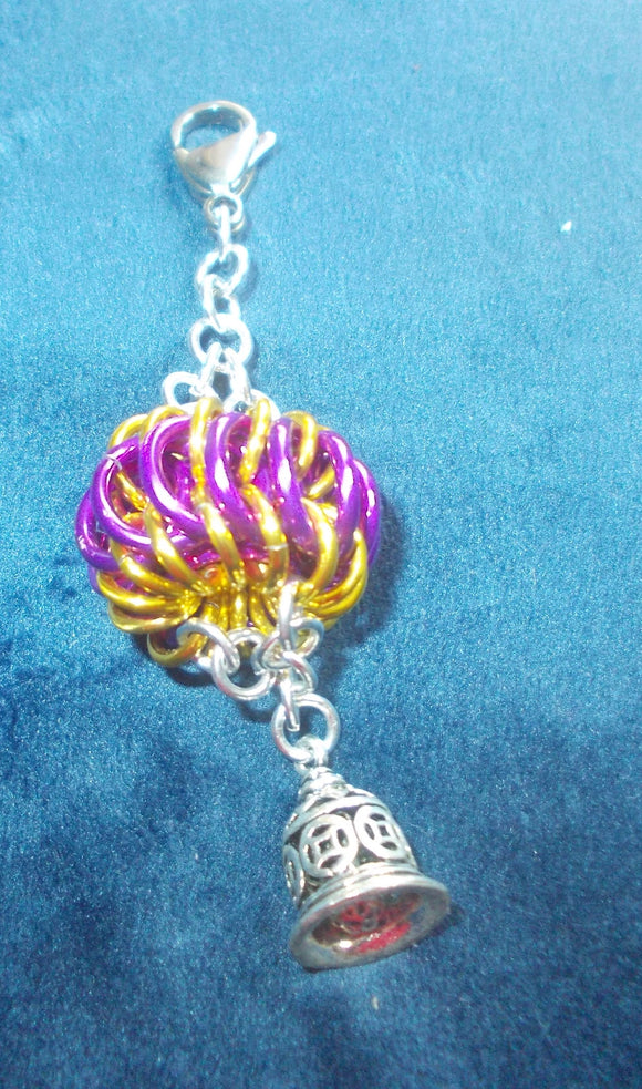 Chain Maille Zipper Pull/ Scissor Fob / Key Chain -Silver, Purple and Gold