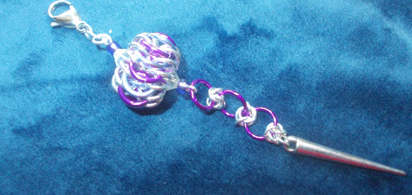 Chain Maille Zipper Pull/ Scissor Fob / Key Chain - Purple and Silver