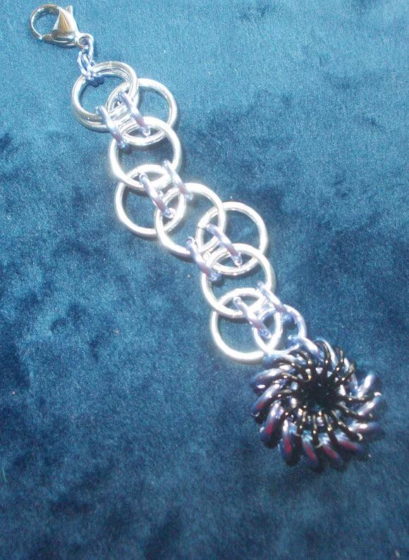 Chain Maille Zipper Pull/ Scissor Fob / Key Chain - Silver, black and lilac