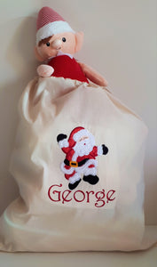 Personalised Embroidered Calico Santa Sack