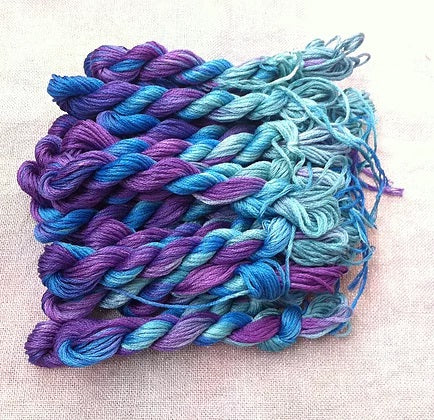 Fiberlicious Hand Dyed stranded cotton - Ocean Waves - Debart Designs Embroidery