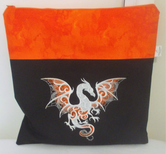 Large Craft/Cross Stitch Project Bag - Smoke Dragon - Orange