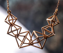 Load image into Gallery viewer, Interlocking Octahedron Necklace (Metal)