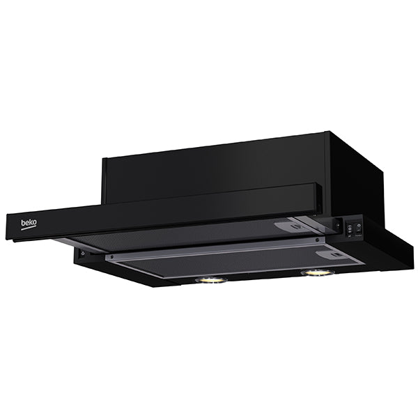 BEKO HNT62210B Semi Built-In TELESCOPIC Black COOKER HOOD