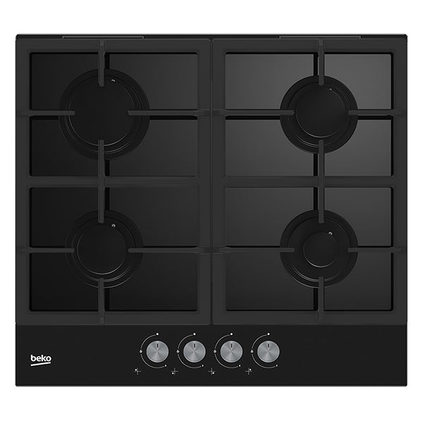BEKO HILG64225S 60cm Built-in Black glass Kitchen Gas Hob