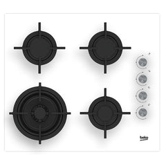 BEKO HILW64122SW 60cm Built-in White glass Kitchen Gas Hob WOK Burner