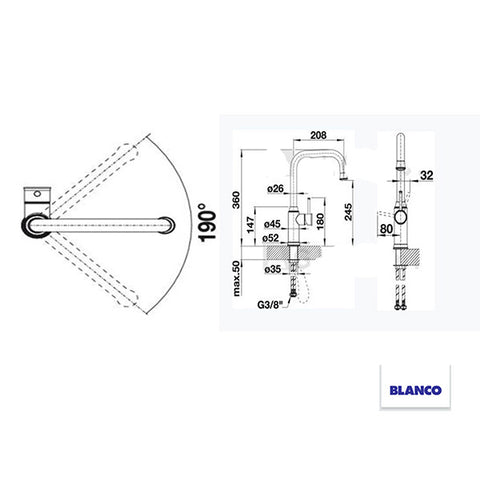 BLANCO LIVIA-S CHROME 521288 Pull-Out Kitchen Tap