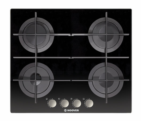 Hoover HGV64SMTCG B- 60cm Built-in Black Glass Kitchen Gas Hob