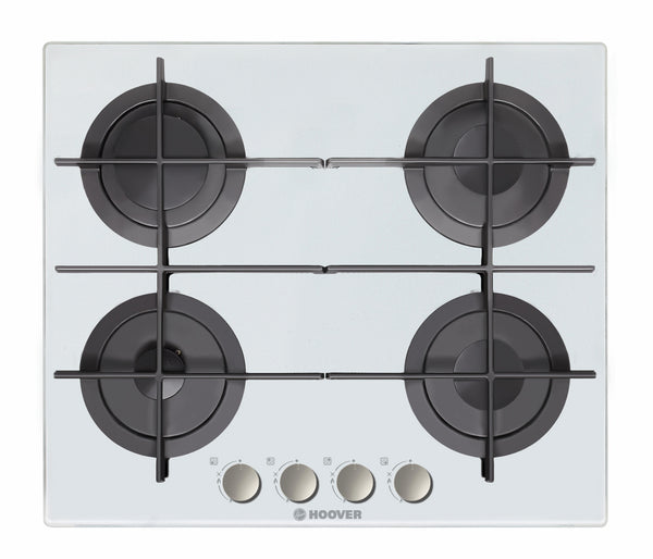 Hoover HGV64SMTCG W- 60cm Built-in White Glass Kitchen Gas Hob