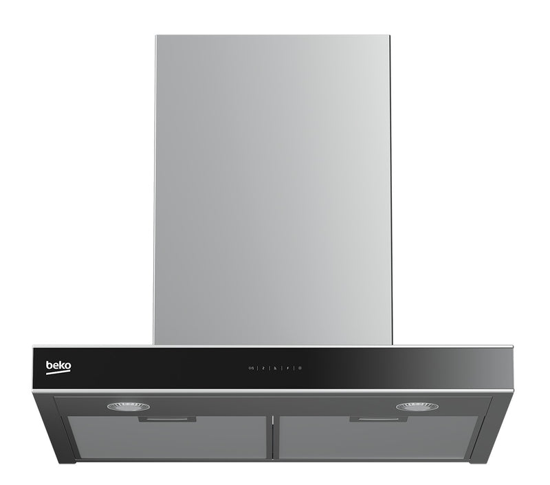 BEKO HCB63741BX - 60cm Wall mounted Cooker Hood with black glass panel