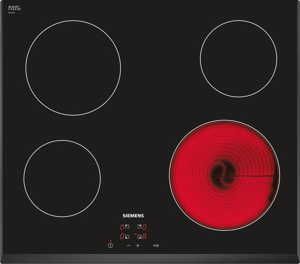 SIEMENS ET651HE17E Built-in Black Frameless Electric Ceramic Kitchen Hob Front and Sides beveled glass