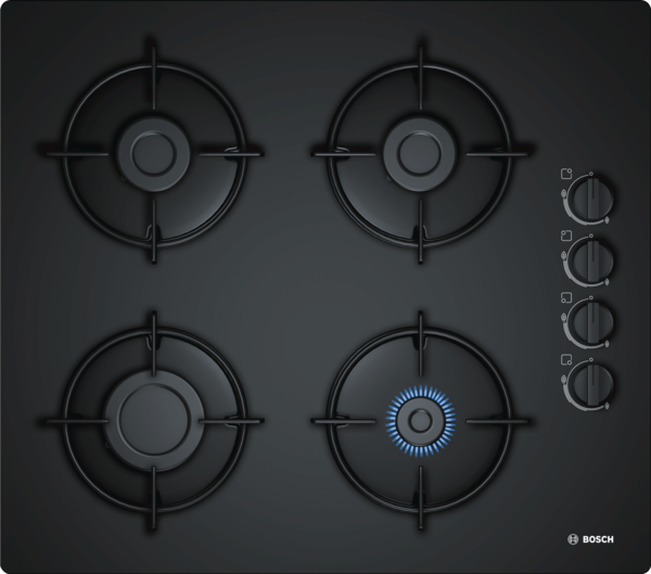 Bosch POP6B6B10 Built-in Black Glass Kitchen Gas Hob