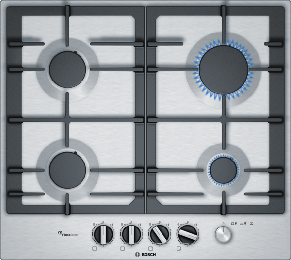 BOSCH PCP6A5M90- 60 cm, Gas hob with integrated controls, Stainless steel