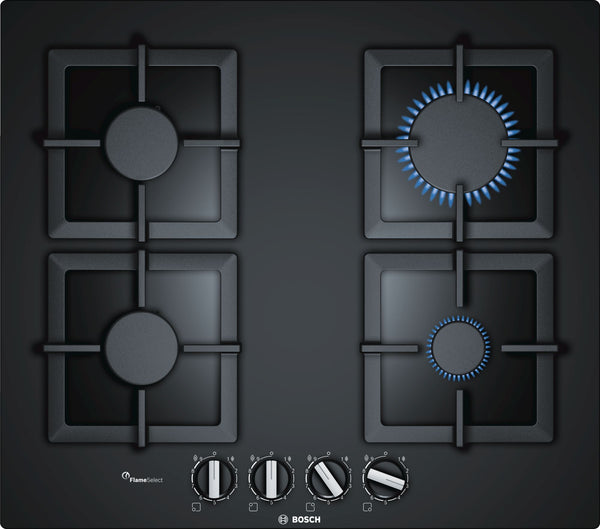 BOSCH PPP6A6B20- 60cm Built-in Black Ceramic Glass Kitchen Gas Hob