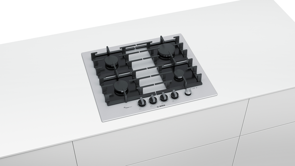 BOSCH PPP6A2M90- 60 cm, Gas hob with integrated controls, Hard Glass, White
