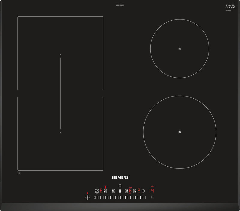 SIEMENS ED651FSB5E Bulit-in IQ500 Induction Kitchen Hob Black Ceramic Front and Sides beveled glass