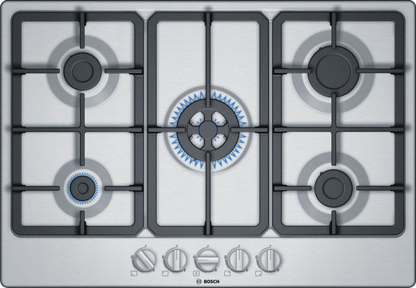 BOSCH PGQ7B5B90- 75cm Built-in Stainless steel Kitchen Gas Hob