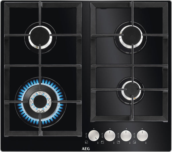 AEG HKB64440NB- 60cm Black Ceramic glass Gas Kitchen Hob