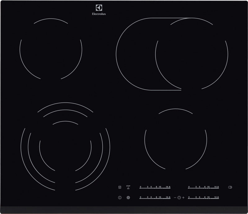 ELECTROLUX EHF6547FXK- 60cm Built-in Black Glass Kitchen Electric Hob