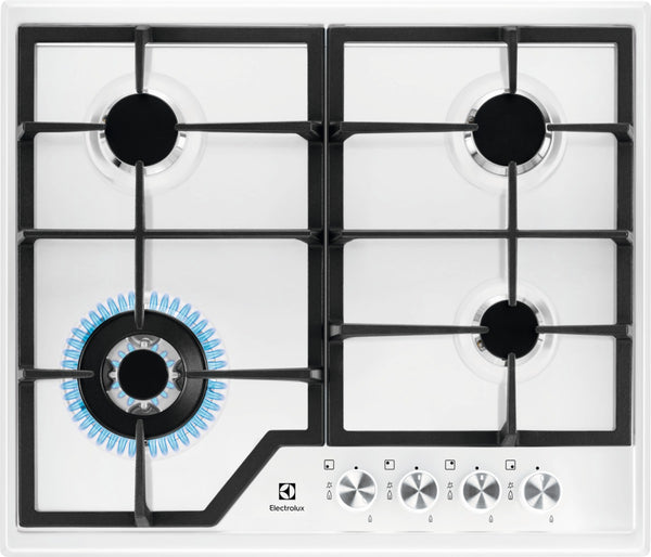 Electrolux EGS6436WW- 60cm Gas Kitchen Hob White Stainless steel