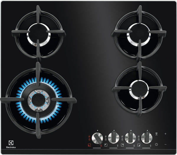 Electrolux KGG6438K- 60cm Black Ceramic glass Gas Kitchen Hob- WOK burner