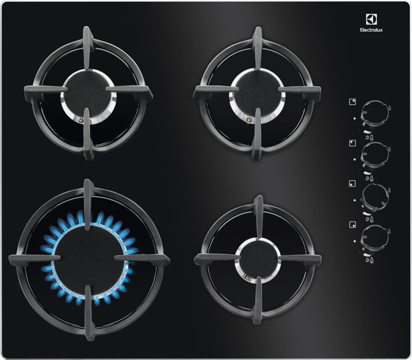 ELECTROLUX EGG6407K- Built-in Black Glass Kitchen Gas Hob