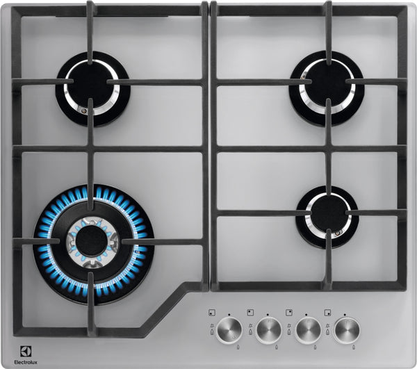 Electrolux KGG6436S- 60cm Silver Ceramic glass Gas Kitchen Hob