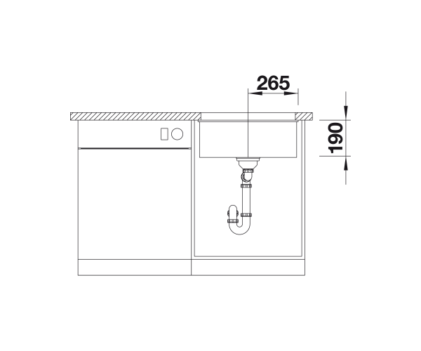 Blanco Subline 500-U- 523433 Rock grey Undermount Kitchen Sink in SILGRANIT - Infino drain system