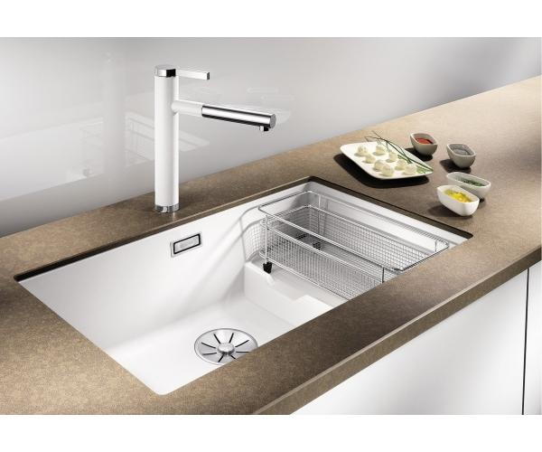BLANCO SUBLINE 700-U LEVEL 523456 - White Silgranit Kitchen Sink- Undermount, InFino drain, Steel wire basket,