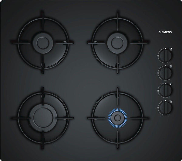 SIEMENS EO6B6PB10- 60cm Black Ceramic Glass Kitchen Gas Hob