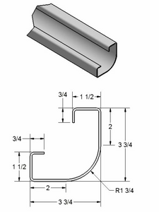 "1 3/4"" Radius Corner Post w/ return legs"