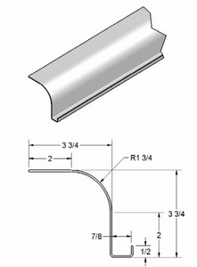 "1 3/4"" Radius Roof Cove w/drip rail"
