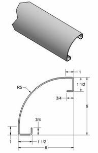 "5"" Radius Corner Post w/ Return Legs"