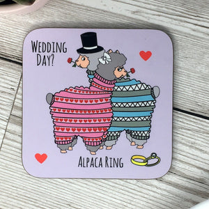 Funny Alpaca Coaster 'Wedding'