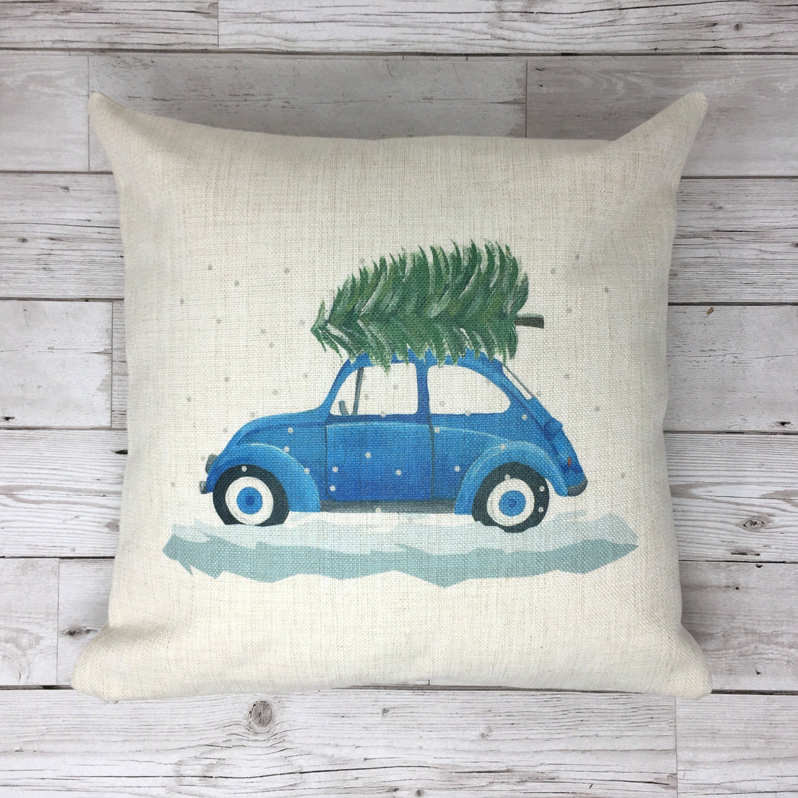Blue Beetle Car Christmas Cushion Pillow