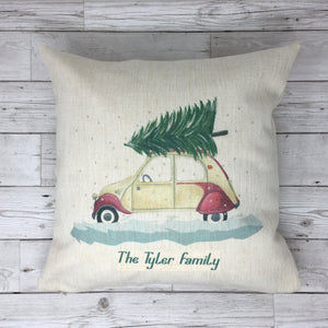 Citroen CV Classic Car Christmas Cushion (Can be personalised)