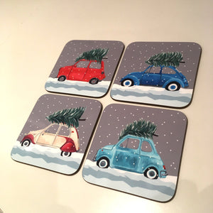 Set of 4 Christmas Class Car Coasters